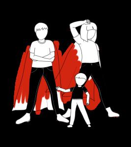 illustration hero family